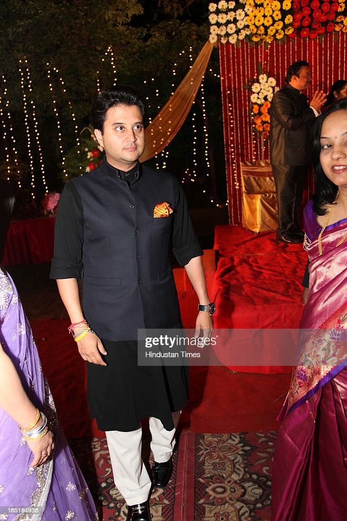 Congress leader Jyotiraditya Scindhiya at the wedding reception of educationist Dr SB Mujumdar's grandson Ameya Yeravdekar and Swati Thorat at Delhi Gymkhana on March 22, 2013 in New Delhi, India.