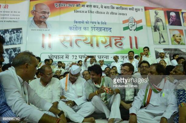 Congress leader Jyotiraditya Scindia along with MP Congress President Arun Yadav leader of opposition Ajay Singh during the start of 72hour Satyagrah...