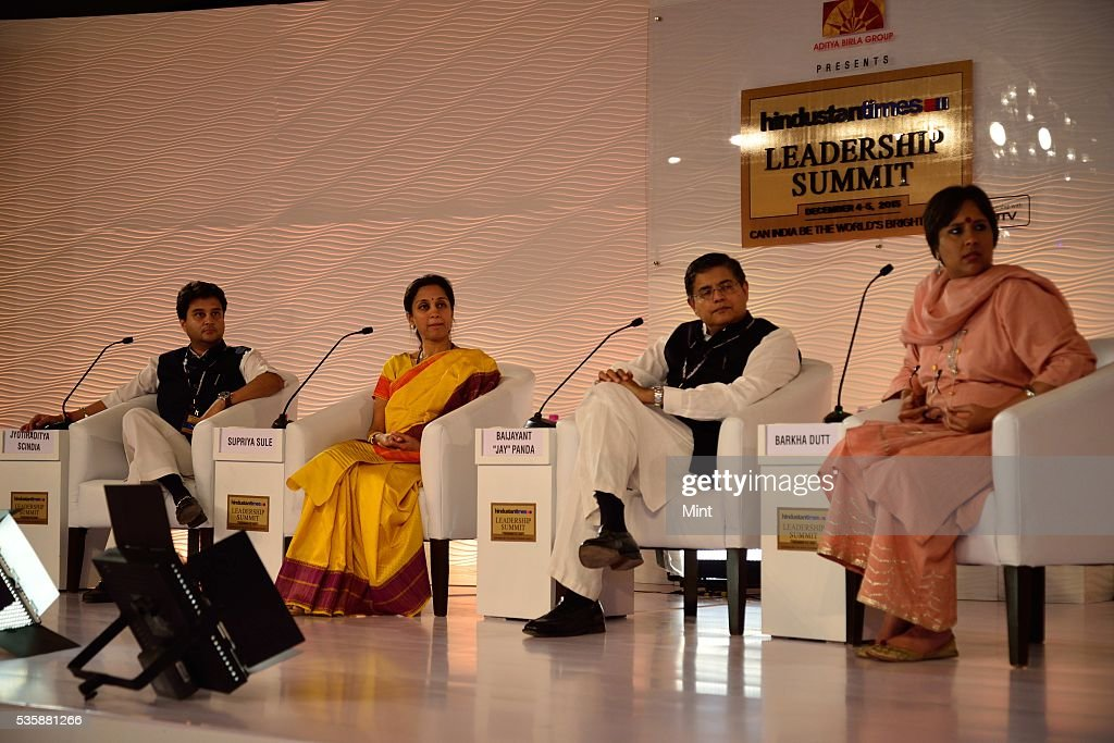 Congress leader Jyotiraditya Scindia, NCP MP Supriya Sule and BJD MP Baijayant Jay Panda with Barkha Dutt (Consulting Editor at NDTV) during session on The challenges before us on December 4, 2015 in New Delhi, India.