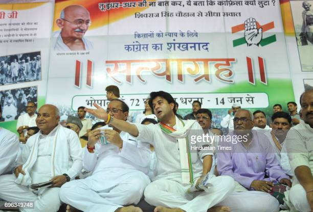 Congress leader Jyotiraditya Scindia on the second day of his 72hour Satyagraha at TT Nagar Dussehra ground on June 15 2017 in Bhopal India