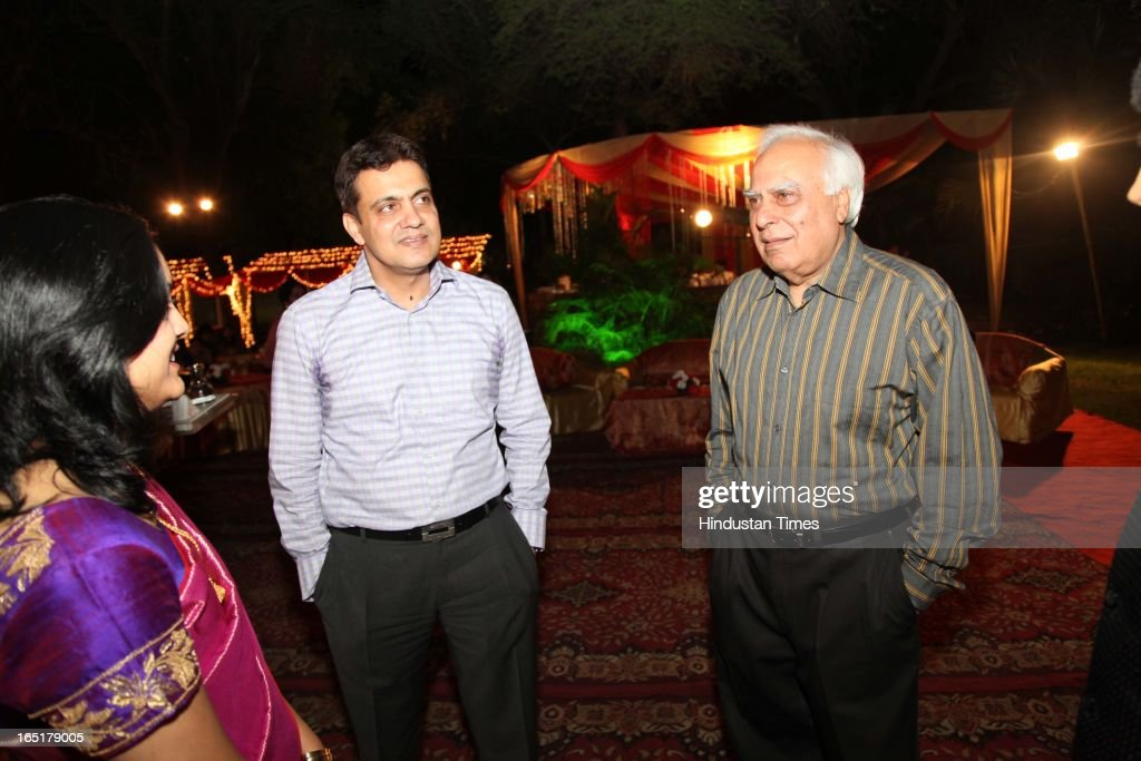 Congress leader Kapil Sibal at the wedding reception of educationist Dr SB Mujumdar's grandson Ameya Yeravdekar and Swati Thorat at Delhi Gymkhana on March 22, 2013 in New Delhi, India.
