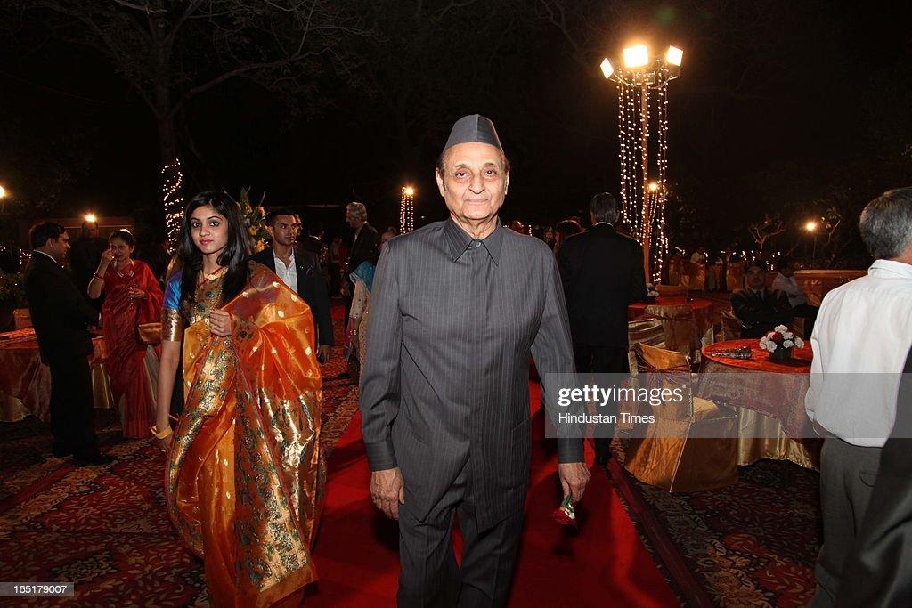 Congress leader Karan Singh at the wedding reception of educationist Dr SB Mujumdar's grandson Ameya Yeravdekar and Swati Thorat at Delhi Gymkhana on March 22, 2013 in New Delhi, India.