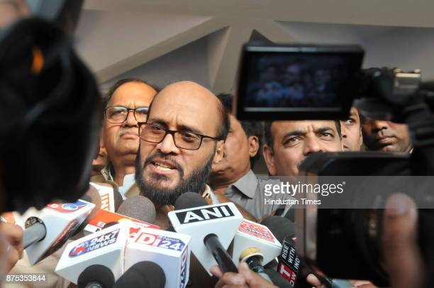 Congress leader KK Mishra talking to media after getting bail in defamation case against Madhya Pradesh Chief minister Shivraj Singh Chouhan at court...
