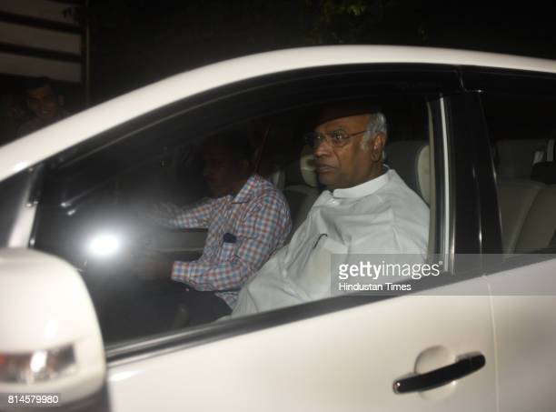 Congress leader Mallikarjun Kharge after attending the all party meeting at Union Home Minister Rajnath Singh's residence on July 14 2017 in New...