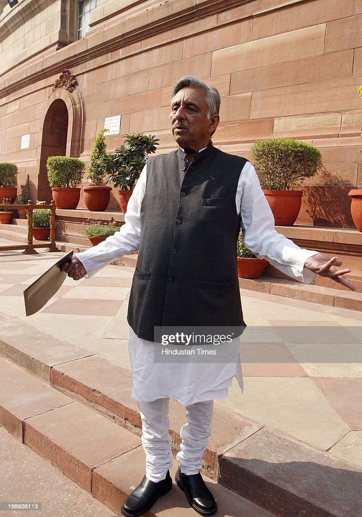 Congress leader Mani Shankar Aiyar at Parliament House during the winter session, on November 23, 2012 in New Delhi, India.