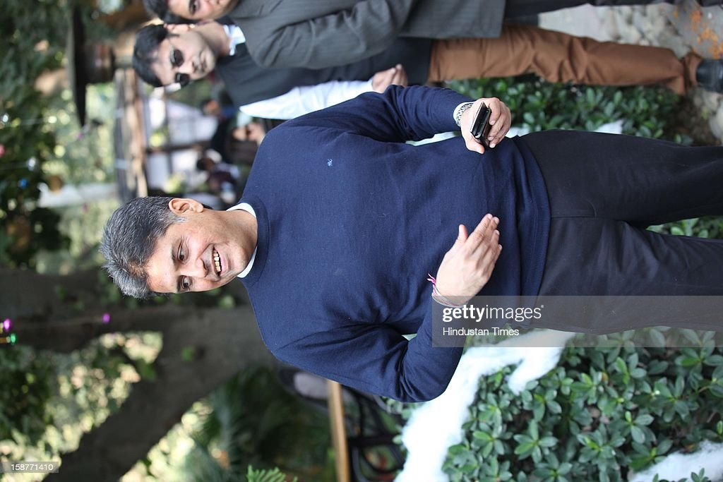 Congress leader Manish Tiwari during Christmas party thrown by communication guru Dilip and Devi Cherian at Lodi Garden on December 22, 2012 in New Delhi, India.