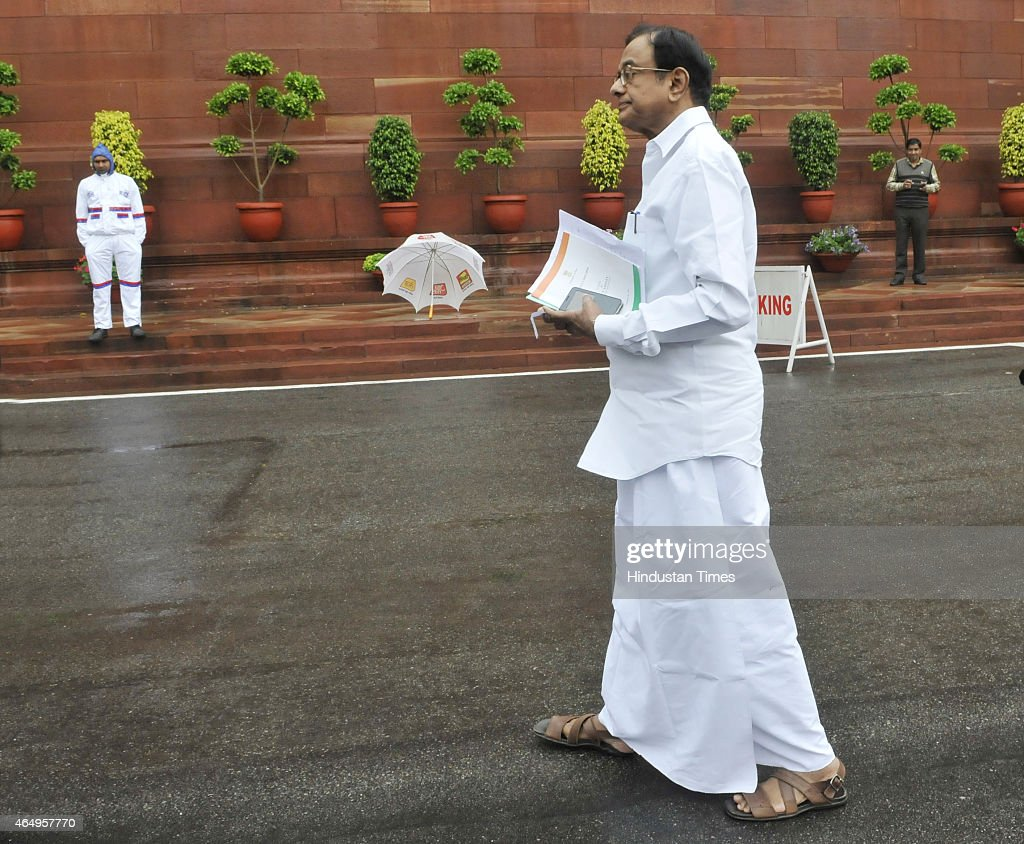 Congress leader P Chidambaram at Parliament during the Budget Session on March 2, 2015 in New Delhi, India. PDP leader Sayeed in his controversial remarks gave credit to militants and Pakistan for the smooth conduct of elections causing a political uproar in Parliament.