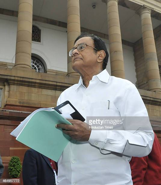 Congress leader P Chidambaram at Parliament during the Budget Session on March 2 2015 in New Delhi India PDP leader Sayeed in his controversial...