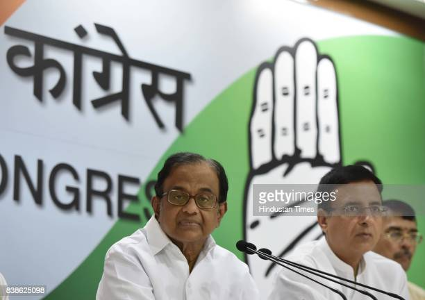 Congress leader P Chidambaram during a press conference at AICC on Supreme verdict on right to privacy issue on August 24 2017 in New Delhi India The...