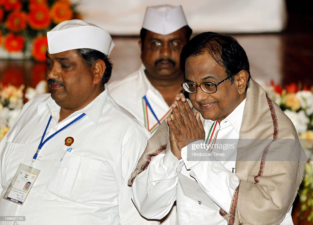 Congress leader P Chidambaram during the Chintan Shivir at Birla Auditorium, Jaipur on January 18, 2013 in Rajasthan, India. The Congress' brain-storming session began in Jaipur today and the focus is on the 2014 elections and Rahul Gandhi's role in leading the party in the battle. The ruling party hopes to emerge from the two-day-long session armed with strategy on, among other things, how to reconnect with an angry urban middle class.