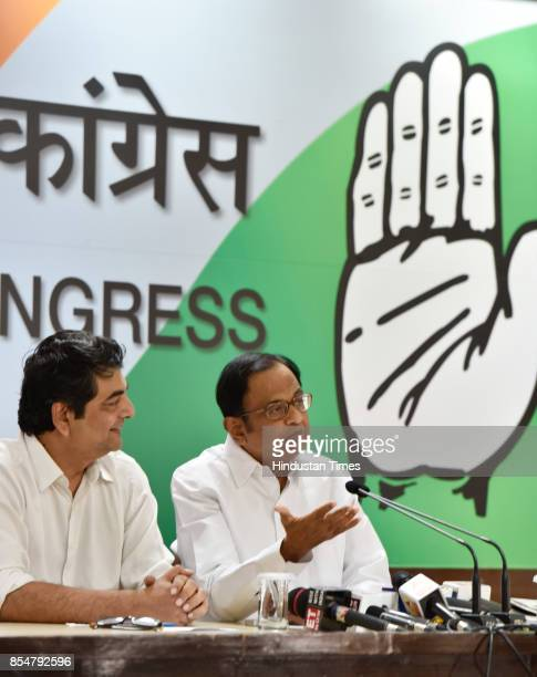 Congress leader P Chidambaram with RPN Singh during a press conference at AICC on September 27 2017 in New Delhi India