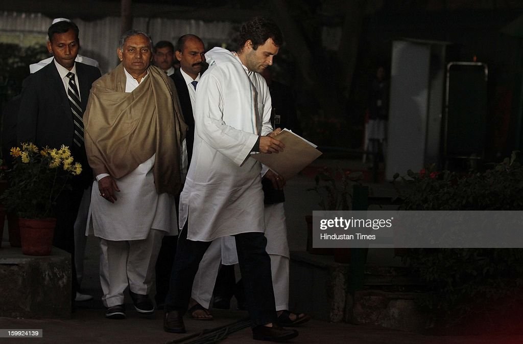 Congress leader Rahul Gandhi after taking charge as AICC Vice President at Party Headquaters on January 23, 2013 in New Delhi, India. This was Rahul's first visit to the party headquarters after he was anointed as its vice president on January 19 during the two-day Chintan Shivir in Jaipur.