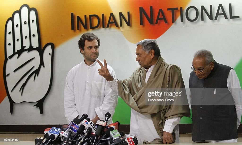 Congress leader Rahul Gandhi along with Senior Leaders Janardan Dwivedi and Motilal Vohra at Intraction with the media before taking charge as AICC Vice President at Party Headquaters on January 23, 2013 in New Delhi, India. This was Rahul's first visit to the party headquarters after he was anointed as its vice president on January 19 during the two-day Chintan Shivir in Jaipur.