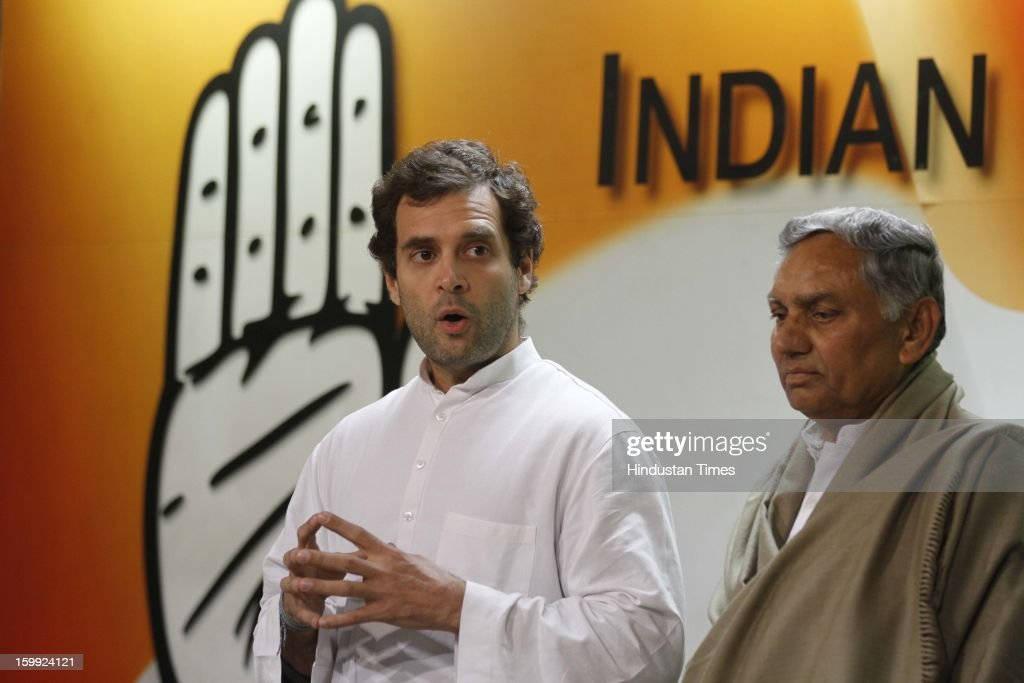 Congress leader Rahul Gandhi along with Senior Leaders Janardan Dwivedi at Intraction with the media before taking charge as AICC Vice President at Party Headquaters on January 23, 2013 in New Delhi, India. This was Rahul's first visit to the party headquarters after he was anointed as its vice president on January 19 during the two-day Chintan Shivir in Jaipur.