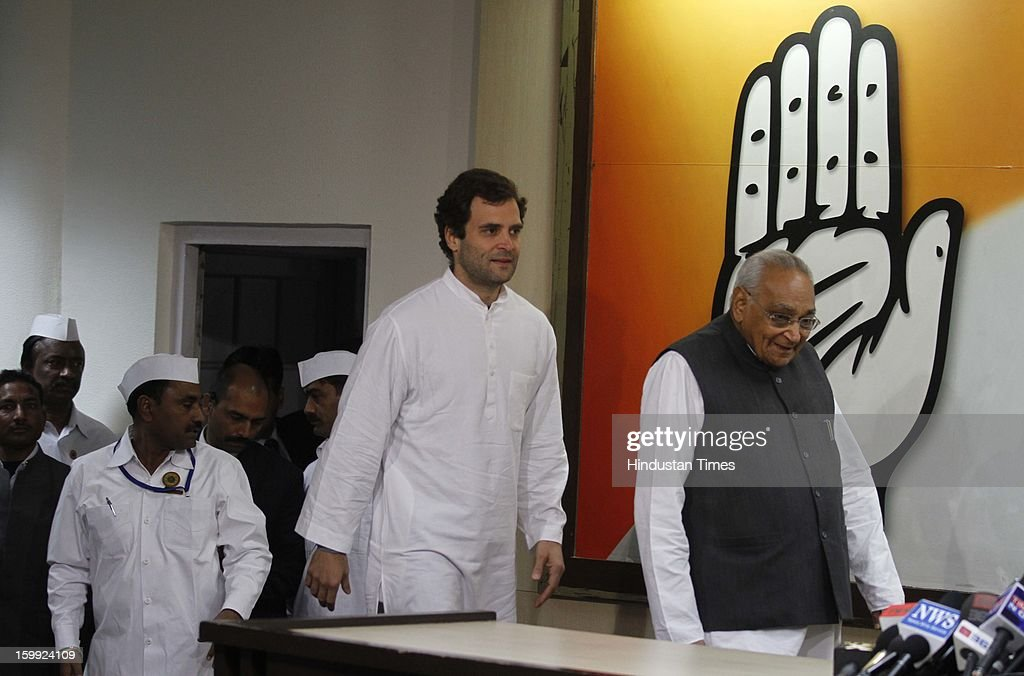 Congress leader Rahul Gandhi along with Senior Leaders Motilal Vohra at Intraction with the media before taking charge as AICC Vice President at Party Headquaters on January 23, 2013 in New Delhi, India. This was Rahul's first visit to the party headquarters after he was anointed as its vice president on January 19 during the two-day Chintan Shivir in Jaipur.