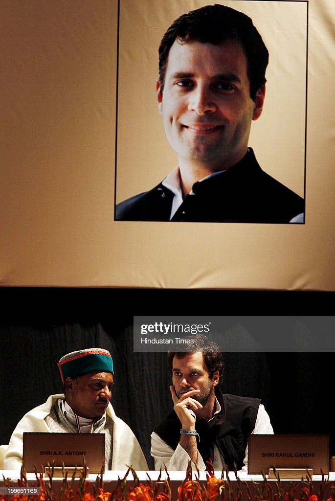 Congress leader Rahul Gandhi and Defence Minister A K Antony during the Chintan Shivir at Birla Auditorium, Jaipur on January 18, 2013 in Rajasthan, India. The Congress' brain-storming session began in Jaipur today and the focus is on the 2014 elections and Rahul Gandhi's role in leading the party in the battle. The ruling party hopes to emerge from the two-day-long session armed with strategy on, among other things, how to reconnect with an angry urban middle class.