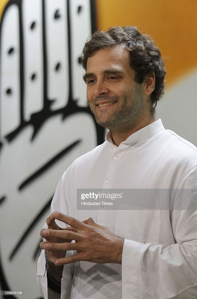 Congress leader Rahul Gandhi at Intraction with the media before taking charge as AICC Vice President at Party Headquaters on January 23, 2013 in New Delhi, India. This was Rahul's first visit to the party headquarters after he was anointed as its vice president on January 19 during the two-day Chintan Shivir in Jaipur.