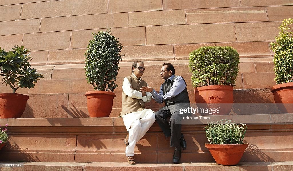 Congress leader Rashid Alvi with BJP Leader MA. Naqavi at the Parliament House, on the first day of its winter session on November 22, 2012 in New Delhi, India. Parliament's winter session began on a stormy note as the issue of FDI in trade and reservation for ST/SC in promotion disrupted the Lok Sabha and Rajya Sabha.
