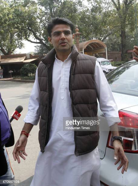 Congress leader Sachin Pilot at Parliament House on the last day of 15th Lok Sabha on February 21 2014 in New Delhi India Rajya Sabha passed the...