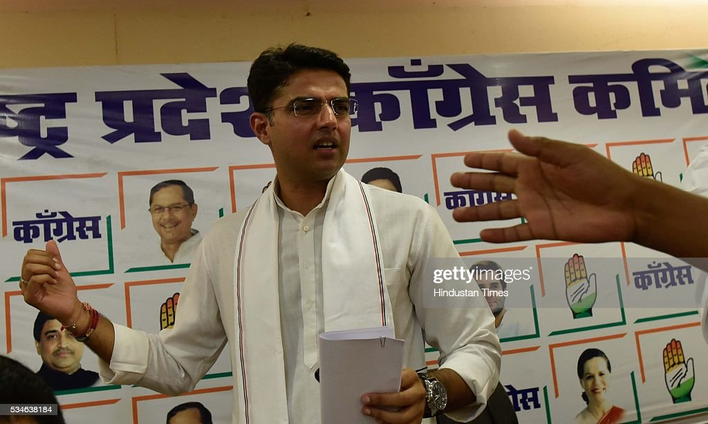 Congress leader Sachin Pilot interacts with media at Gandhi Bhavan, on May 26, 2016 in Mumbai, India. Slamming the BJP for making 'false' election promises, Sachin advised the ruling party to either listen to the views of its allies or chuck them out of the government.