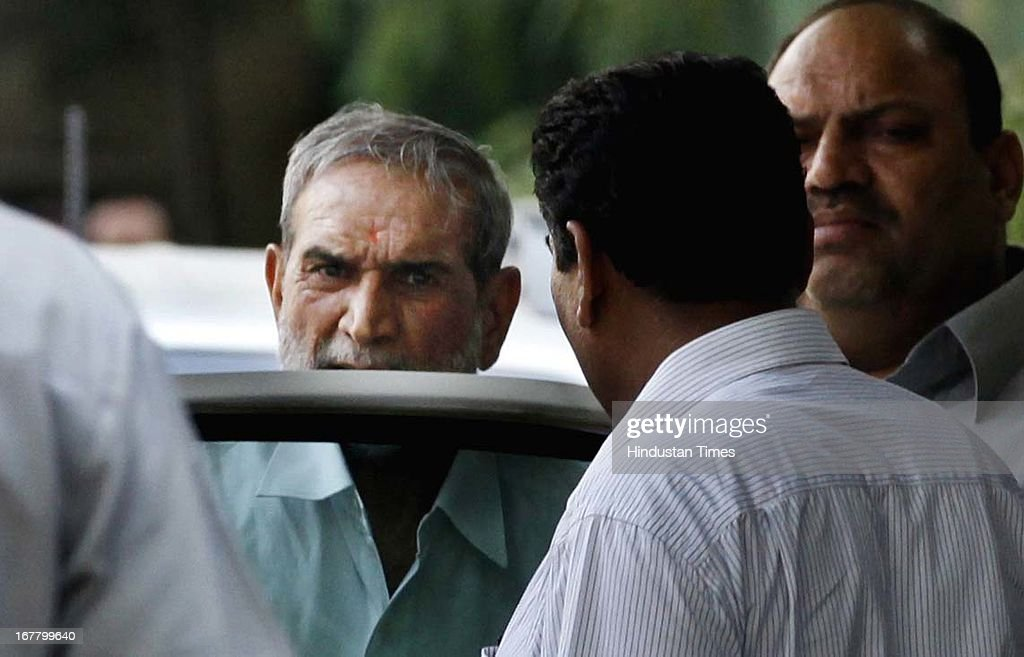Congress leader Sajjan Kumar coming home after Delhi karkardhoma court's judgement, a special CBI court in Karkardoma on Tuesday acquitted him of all charges leveled against him in a case related to the 1984 anti-Sikh riots in Delhi, at his house at Talkatora Road on April 30, 2013 in New Delhi, India. Kumar, a former Lok Sabha MP from Outer Delhi, still faces trial in another 1984 rioting case. In a third case, Delhi Police has filed a closure report, saying there was no evidence against Kumar to implicate him. The 1984 anti-Sikh riots broke out after the assassination of the then Prime Minister Indira Gandhi on October 31, 1984.