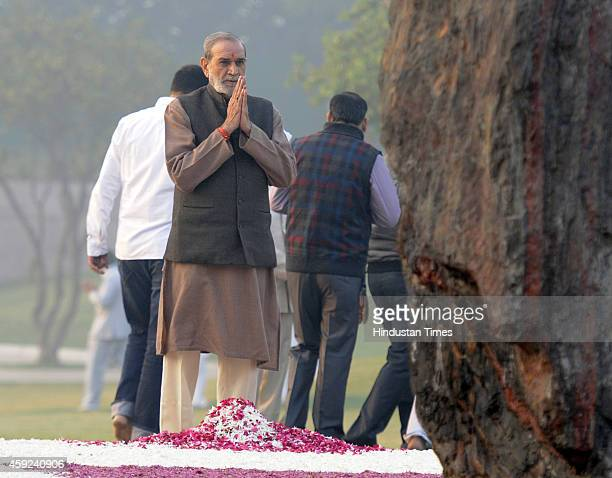 Congress leader Sajjan Kumar pays floral tribute to the former Prime Minister Indira Gandhi on her 97th birth anniversary at Shakti Sthal on November...