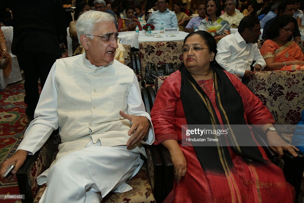 Congress leader <a gi-track='captionPersonalityLinkClicked' href=/galleries/search?phrase=Salman+Khurshid&family=editorial&specificpeople=2570174 ng-click='$event.stopPropagation()'>Salman Khurshid</a> with his wife during on-stage comic play, Pati, Patni aur Main on April 19, 2015 in New Delhi, India.