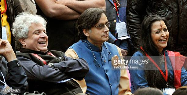 Congress leader Shashi Tharoor and marketing guru Suhail Seth listening to the Amish Tripathi and Bibek Debroy during the session on 'the Conflict of...