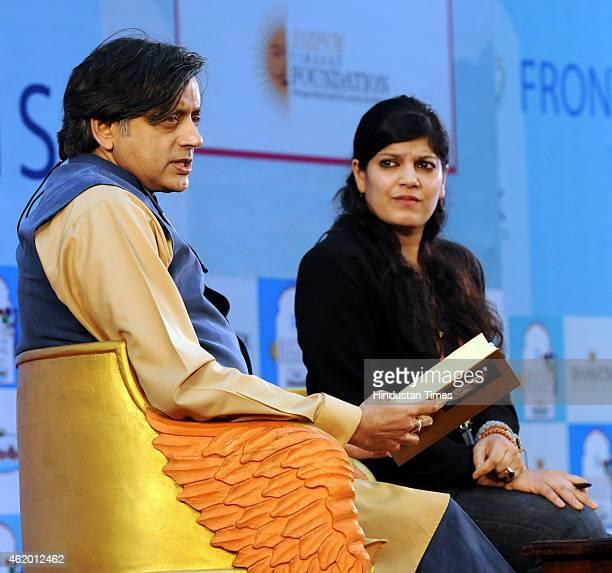 Congress leader Shashi Tharoor and writer Amrita Tripathi during a session on 'India Shastra' at the Jaipur Literature festival at Diggi Palace on...