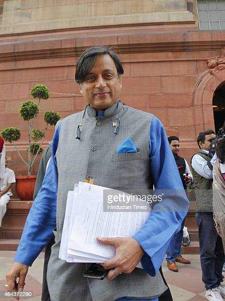 Congress leader Shashi Tharoor arrives at the Parliament House during Budget session on February 25 2015 in New Delhi India After introducing the...