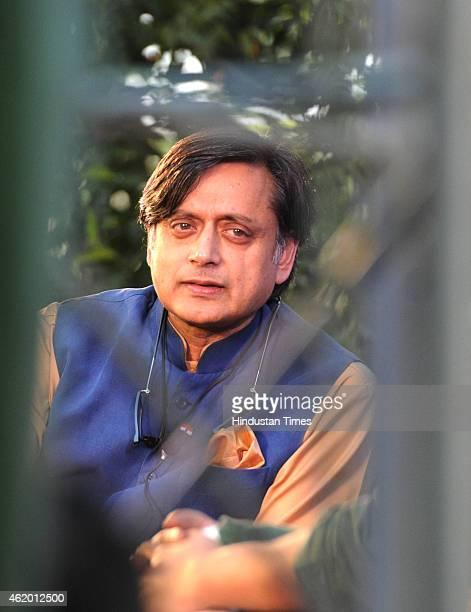 Congress leader Shashi Tharoor at a session on 'India Shastra' at the Jaipur Literature festival at Diggi Palace on January 23 2015 in Jaipur India...