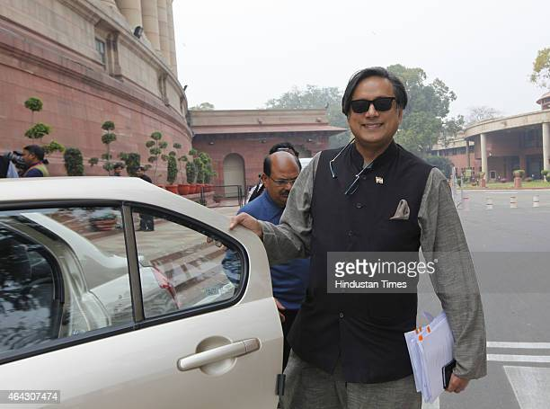 Congress leader Shashi Tharoor during Budget session at Parliament house on February 24 2015 in New Delhi India The government introduced the land...
