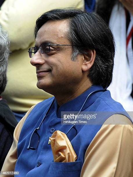 Congress leader Shashi Tharoor listening to the Amish Tripathi and Bibek Debroy during the session on 'the Conflict of Dharma in the Mahabharata' at...