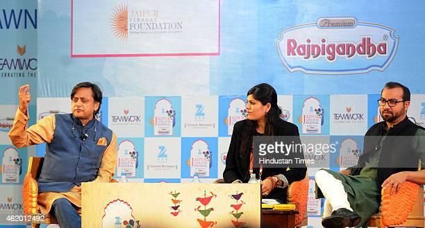 Congress leader Shashi Tharoor Writer Amrita Tripathi and columnist Mihir Sharma during a session on 'India Shastra' at the Jaipur Literature...