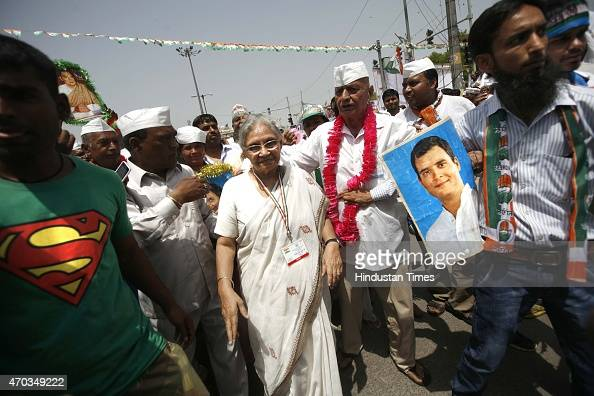 Congress leader Sheila Dikshit during the farmers rally of Congress President Sonia Gandhi to galvanise protests against National Democratic...