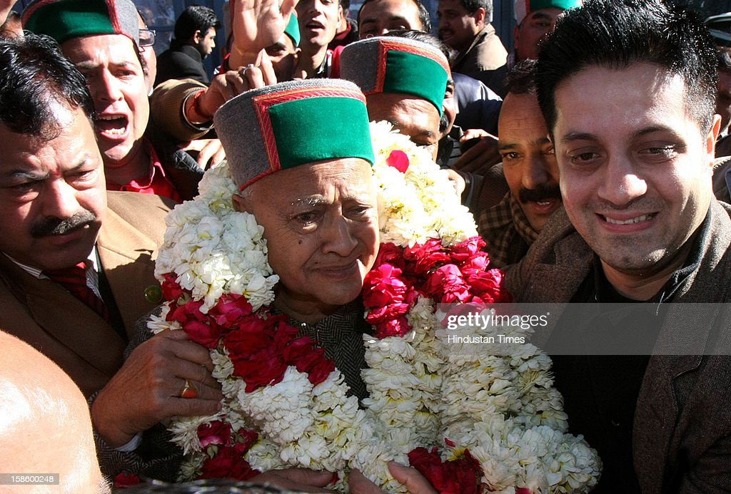 Congress leader Virbhadra Singh after Congress Party declared winner in Himachal Pradesh State Assembly Poll 2012, on December 20, 2012 in Shimla, India. The opposition Congress drubbed the BJP in Himachal Pradesh assembly polls winning 36 out of 68 seats, while BJP got 26 seats.
