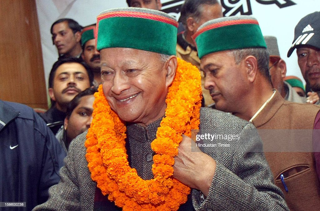 Congress leader Virbhadra Singh in happy mood after Congress Party declared winner in Himachal Pradesh State Assembly Poll 2012, on December 20, 2012 in Shimla, India. The opposition Congress drubbed the BJP in Himachal Pradesh assembly polls winning 36 out of 68 seats, while BJP got 26 seats.