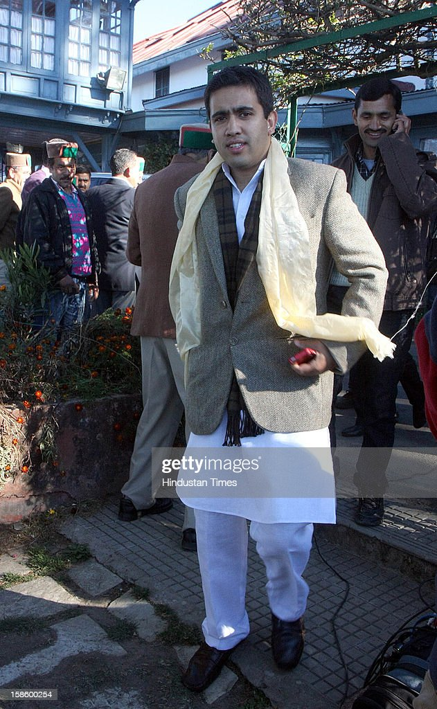 Congress leader Virbhadra Singh's son Vikram Aditya after Congress party declared winner in Himachal Pradesh State Assembly Poll 2012, on December 20, 2012 in Shimla, India. The opposition Congress drubbed the BJP in Himachal Pradesh assembly polls winning 36 out of 68 seats, while BJP got 26 seats.