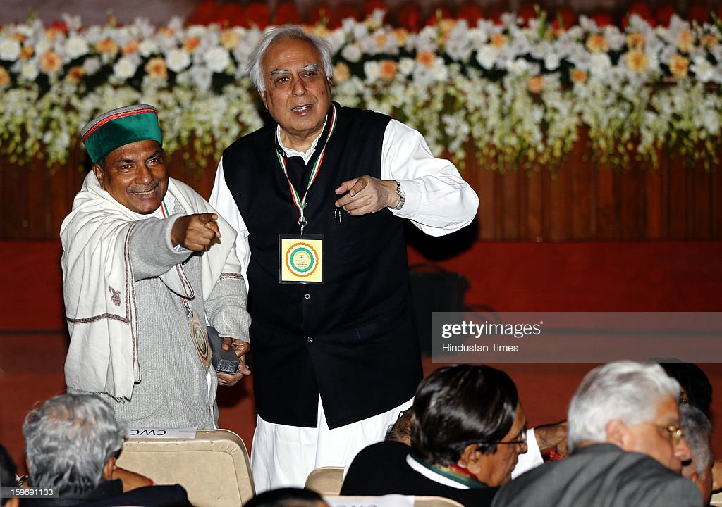 Congress leaders A K Antony and Kapil Sibbal during the Chintan Shivir at Birla Auditorium, Jaipur on January 18, 2013 in Rajasthan, India. The Congress' brain-storming session began in Jaipur today and the focus is on the 2014 elections and Rahul Gandhi's role in leading the party in the battle. The ruling party hopes to emerge from the two-day-long session armed with strategy on, among other things, how to reconnect with an angry urban middle class.