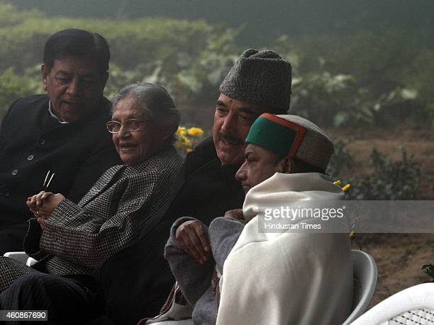 Congress leaders AK Anthony and Ghulam Nabi Azad with Sheila Dikshit during Congress Partys 130th foundation day at AICC Headquarters during heavy...