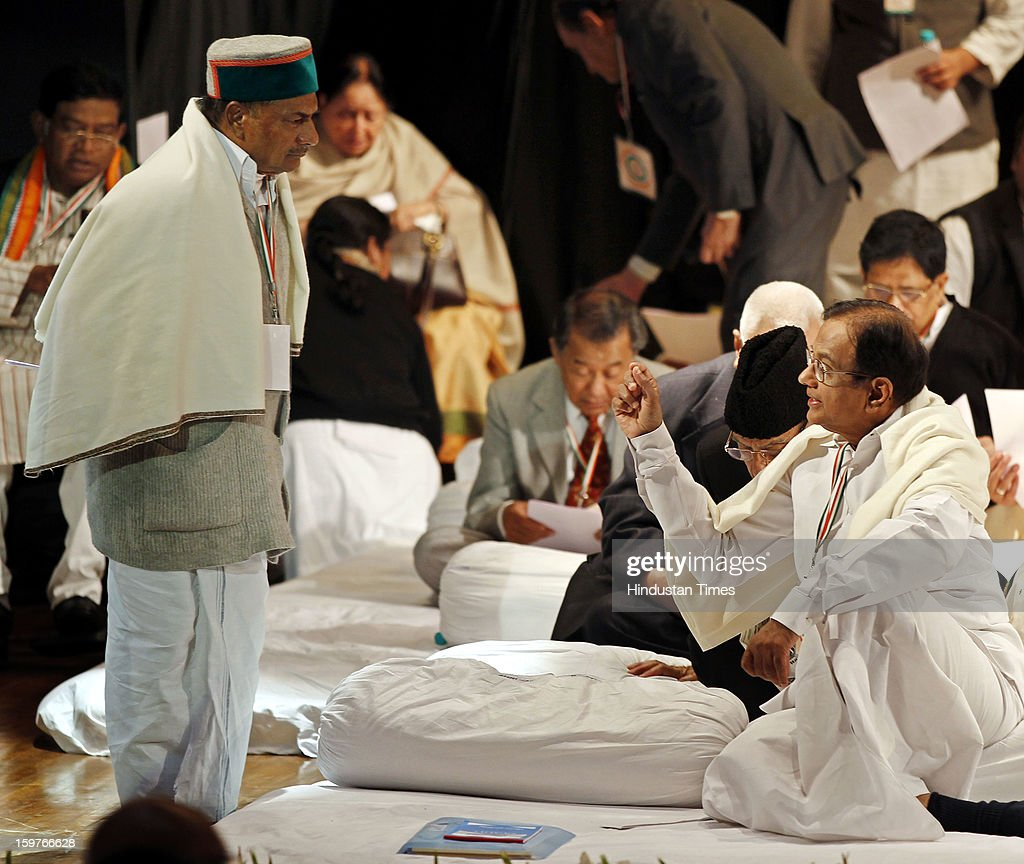 Congress leaders AK Antony and P Chidambram during the AICC meeting after the two days 'Chintan Shivir' at Birla Auditorium, Jaipur on January 20, 2013 in Rajasthan, India.