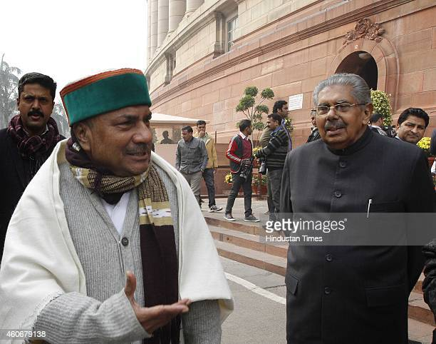 Congress leaders AK Antony with Vayalar Ravi at Parliament House on December 19 2014 in New Delhi India Progress on key bills such as a nationwide...