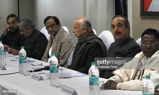 Congress leaders Anand Sharma RK Dhawan P Chidambaram Sushil Kumar Shinde Ghulam Nabi Azad and others leader during CWC meeting at AICC HQ on January...