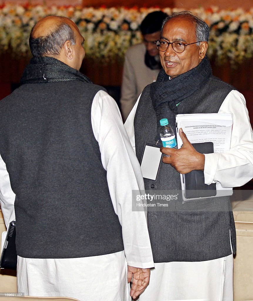 Congress leaders Digvijay Singh and Pallam Raju during the Chintan Shivir at Birla Auditorium, Jaipur on January 18, 2013 in Rajasthan, India. The Congress' brain-storming session began in Jaipur today and the focus is on the 2014 elections and Rahul Gandhi's role in leading the party in the battle. The ruling party hopes to emerge from the two-day-long session armed with strategy on, among other things, how to reconnect with an angry urban middle class.