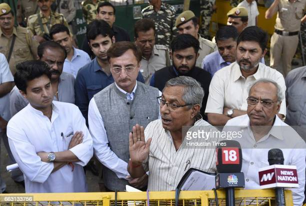 Congress leaders Digvijaya Singh Jyotiraditya Madhavrao Scindia Mohan Prakash General Secretary AICC with other leaders leave ECI headquarters after...