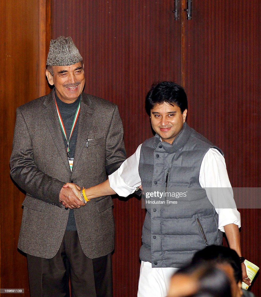 Congress leaders Gulam Nabi Azad and Jyotiraditya Scindia during the Chintan Shivir at Birla Auditorium, Jaipur on January 18, 2013 in Rajasthan, India. The Congress' brain-storming session began in Jaipur today and the focus is on the 2014 elections and Rahul Gandhi's role in leading the party in the battle. The ruling party hopes to emerge from the two-day-long session armed with strategy on, among other things, how to reconnect with an angry urban middle class.