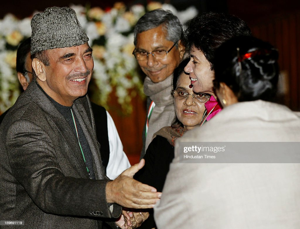 Congress leaders Gulam Nabi Azad, Girija Vyas and Selja Kumari during the Chintan Shivir at Birla Auditorium, Jaipur on January 18, 2013 in Rajasthan, India. The Congress' brain-storming session began in Jaipur today and the focus is on the 2014 elections and Rahul Gandhi's role in leading the party in the battle. The ruling party hopes to emerge from the two-day-long session armed with strategy on, among other things, how to reconnect with an angry urban middle class.
