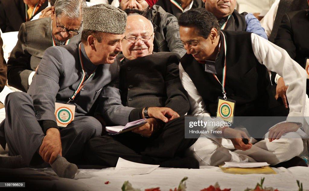 Congress leaders Gulam Nabi Azad, Sushil Kumar Shinde and Kamal Nath during the AICC meeting after the two days 'Chintan Shivir' at Birla Auditorium, Jaipur on January 20, 2013 in Rajasthan, India.