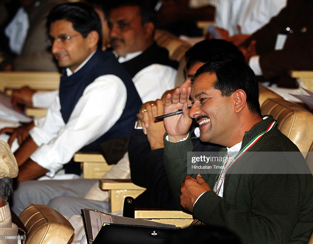 Congress leaders Jitendra Pratap Singh and Deepender Singh Hooda during the Chintan Shivir at Birla Auditorium, Jaipur on January 18, 2013 in Rajasthan, India. The Congress' brain-storming session began in Jaipur today and the focus is on the 2014 elections and Rahul Gandhi's role in leading the party in the battle. The ruling party hopes to emerge from the two-day-long session armed with strategy on, among other things, how to reconnect with an angry urban middle class.