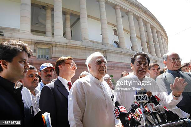 Congress leaders Kapil Sibal Digvijay Singh Kamal Nath Jyotiraditya Scindia talking to media after meeting with Prime Minister Narendra Modi on...